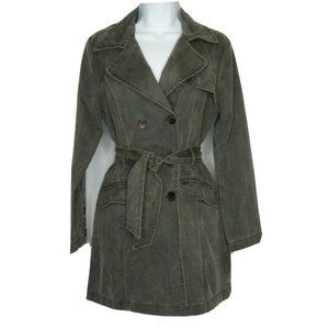 Levis Trench Coat Gray Double Breasted Pockets